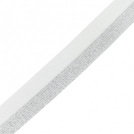 Brillantine lurex elastic ribbon - silver/white x 1m