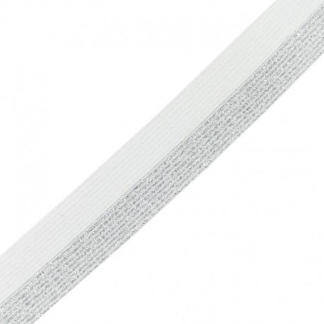 Brillantine lurex elastic ribbon - silver/white x 1m