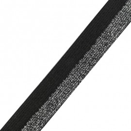 Brillantine lurex elastic ribbon - silver/black x 1m