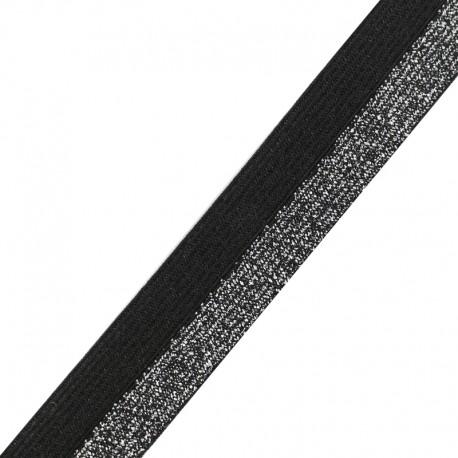 Brillantine lurex elastic ribbon - silver/black x 1m