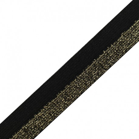 Brillantine lurex elastic ribbon - gold/black x 1m