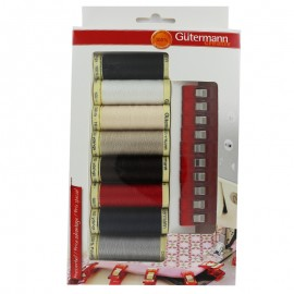 Set of 8 Gütermann sewing threads + 10 fabric clips