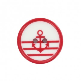 Bouton polyester Mignon marin - rouge