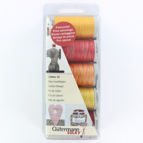 Set of 5 Gütermann cotton sewing threads 300 m - red