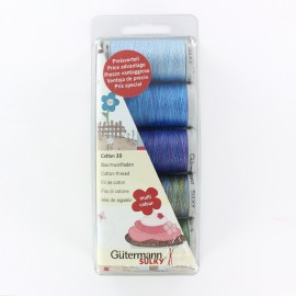 Set of 5 Gütermann cotton sewing threads 300 m - blue