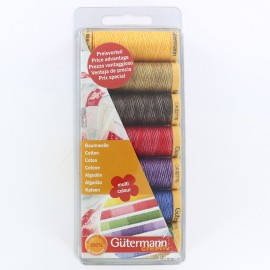 Set of 7 Gütermann cotton sewing threads 100 m - double multicolored