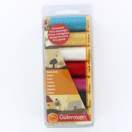 Set of 7 Gütermann cotton sewing threads 100 m - multicolored