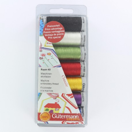 Set of 7 Gütermann reels machine embroidery thread rayon 200 m - bright multicolored