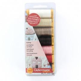 Set de 7 fils spécial quilting et patchwork Gütermann 80 m - multicolore