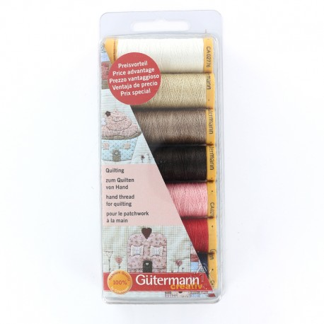 Set of 7 hand thread for quilting from 80m - multicolored