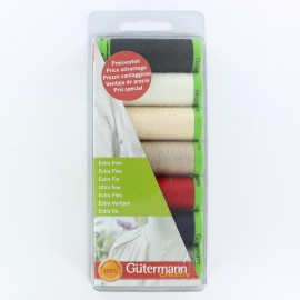 Set of 7 extra thin sewing threats Gütermann 20 m - multicolor