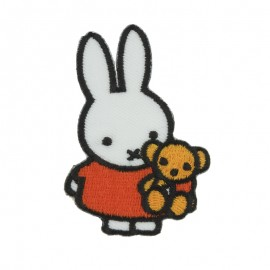 Miffy the rabbit Teddy bear Sticker and iron on patch - white/orange