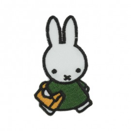 Thermocollant et sticker la lapine Miffy A l'école - blanc/vert