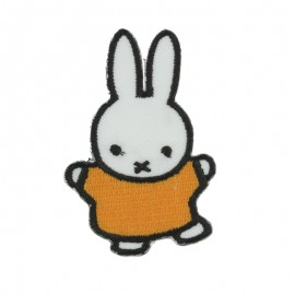 Miffy the rabbit Happy Sticker and iron on patch - white/yellow