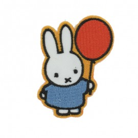 Thermocollant et sticker la lapine Miffy et son ballon - blanc/jaune