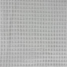 Tissu Oeko-Tex piqué de coton nid d'abeille - gris perle x 10cm