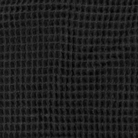 Waffle stitch Oeko-Tex cotton fabric - black x 10cm