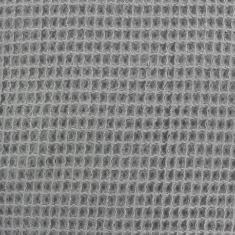 Waffle stitch Oeko-Tex cotton fabric - grey x 10cm