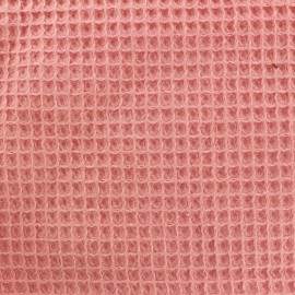 Tissu Oeko-Tex piqué de coton nid d'abeille - abricot x 10cm