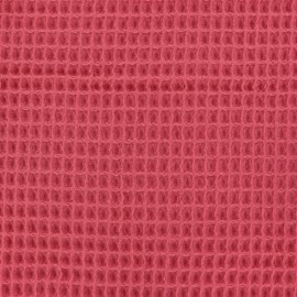 Waffle stitch Oeko-Tex cotton fabric - strawberry x 10cm