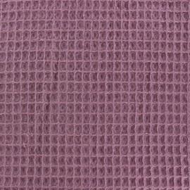 Waffle stitch Oeko-Tex cotton fabric - fig x 10cm