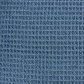 Tissu Oeko-Tex piqué de coton nid d'abeille - bleu capri x 10cm