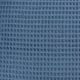 Waffle stitch Oeko-Tex cotton fabric - Capri blue x 10cm