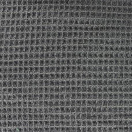 Waffle stitch Oeko-Tex cotton fabric - anthracite x 10cm