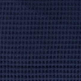 Tissu Oeko-Tex piqué de coton nid d'abeille - bleu marine x 10cm