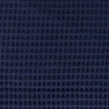 Waffle stitch Oeko-Tex cotton fabric - navy blue x 10cm