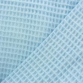 Tissu Oeko-Tex piqué de coton nid d'abeille - bleu givré x 10cm