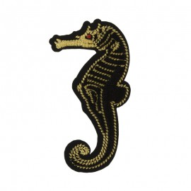 Sea horse iron on patch - black/gold