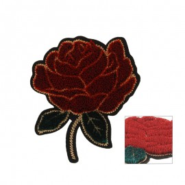 Thermocollant Belle rose velours - noir/rouge