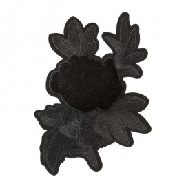 Thermocollant velours Mystical flower - noir