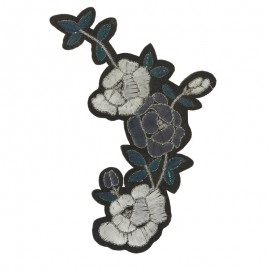 Thermocollant velours Queen of the night flower - bleu/argent