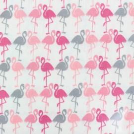 Coated Cotton Fabric  Flamingos - pink x 10 cm