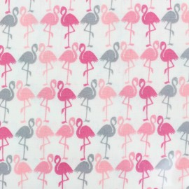 Tissu coton enduit brillant Flamants - rose x 10 cm
