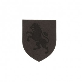 Blazon leather imitation lion iron on patch - brown/black