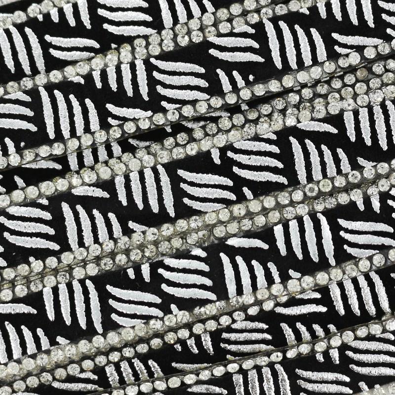 à thermocoller Bijoux zèbre - argent x 50cm