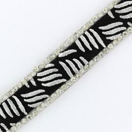 Ruban à thermocoller Bijoux zèbre - argent x 50cm