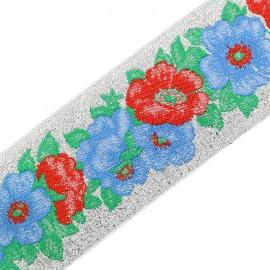 Ruban imprimé Flower - argent x 50cm