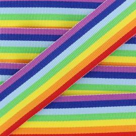 Ruban imprimé Rainbow - multicolore x 50cm