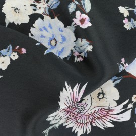 Tissu polyester effet mat Grue - noir x 32cm