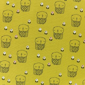 Tissu coton Dashwood Autumn Rain - mustard owl x 10cm