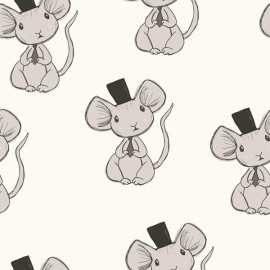 Tissu Jersey Bio Mouse - écru  x 10cm