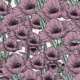 Tissu Jersey Bio Poppy Flower - violet x 10cm