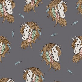 Bohemian Horse Organic Jersey fabric - grey x 10cm