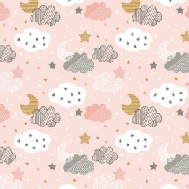 Tissu Blend Coton Sweet Dreams - rose x 10cm