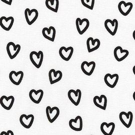 Cotton fabric Penned Pals Heart - white x 10cm