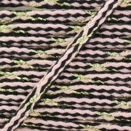 Cordon tressé lurex Festif - rose x 1m